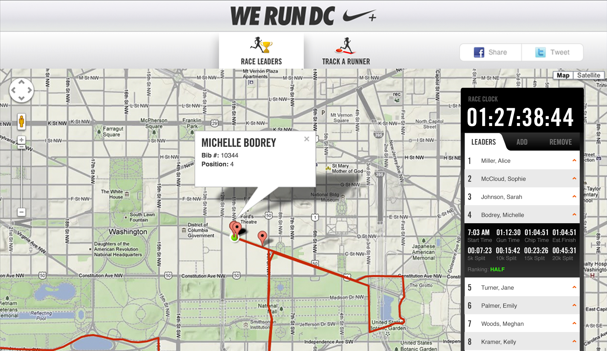 Nike Women's Marathon Race Interface